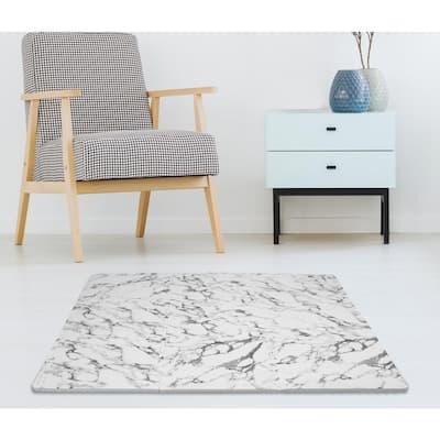 Athena White 36 in. x 72 in. Interlocking Foam Floor Tiles (Set of 2 - 44 Pieces/18 sq. ft.)