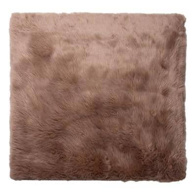 4 ft. x 4ft. Faux Sheepskin Rug, Solid Brown Soft Anti-Skid Fluffy Area Rug
