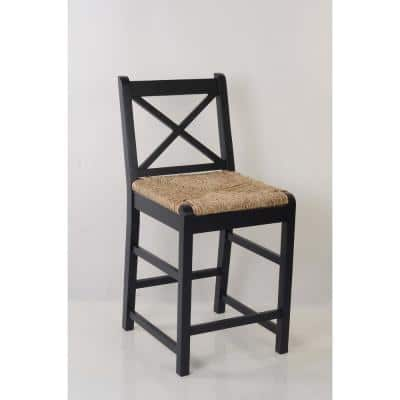 Dorsey Black Wood Counter Stool with Back and Rush Seat (17.72 in. W x 38.58 in. H)