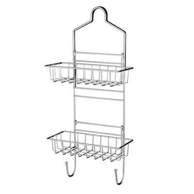 Shower Caddy Over Shower Head Basket Shelf with Hooks Hanging Sponge Shampoo Holder Organizer Stainless Steel in Chrome