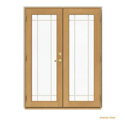 60 in. x 80 in. W-2500 Desert Sand Clad Wood Right-Hand 9 Lite French Patio Door w/Stained Interior