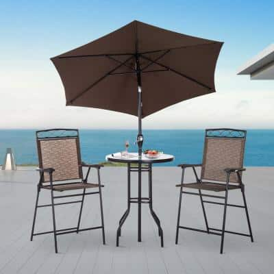 4-Piece Metal Round Bar Height Outdoor Bistro Set with Adjustable Umbrella, 2 Chairs, and Table
