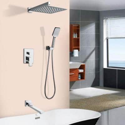 3-Spray with 2.5 GPM 10 in. 3 Functions Tub Wall Mount Dual Shower Heads in Spot in Polished Chrome (Valve Included)