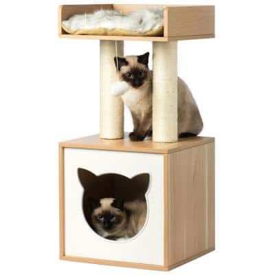 Cat Tree Play House Condo Cube Cave, Platform, Scratcher Post and Ball Toy