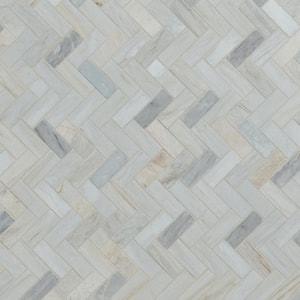 Angora Herringbone 12 in. x 12 in. x 10mm Polished Marble Mesh-Mounted Mosaic Tile (10 sq. ft. / case)