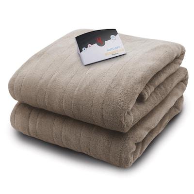 2030 Series Micro Plush Heated 62 in. x 84 in. Taupe Twin Size Blanket