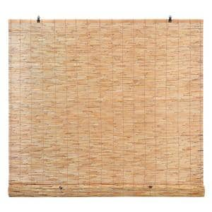 Natural Light-Filtering Bamboo Reed Roman Shades Manual Roll-Up Window Blinds, Natural 72 in. W x 72 in. L