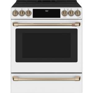 30 in. 5.7 cu. ft. Slide-In Electric Range with Self Cleaning Convection Oven in Matte White, Fingerprint Resistant