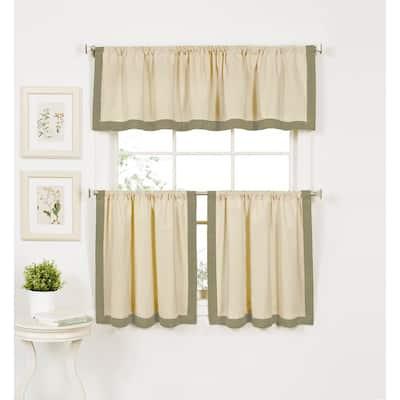 Sage Border Rod Pocket Room Darkening Curtain - 30 in. W x 24 in. L  (Set of 2)
