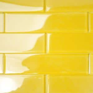 Contempo Yellow 2 in. x 8 in. x 8mm Polished Glass Floor and Wall Tile (36 pieces 4 sq.ft./Box)