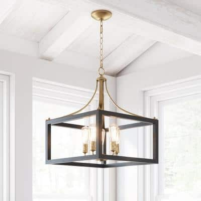 Boswell Quarter 5-Light Vintage Brass Chandelier with Painted Black Distressed Wood Accents