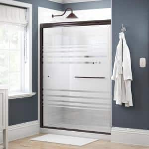 Simplicity 60 in. x 70 in. Semi-Frameless Traditional Sliding Shower Door in Bronze with Transition Glass