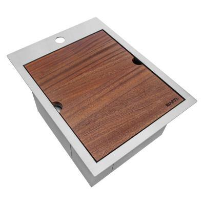 Siena 16 Gauge Stainless Steel 15 in. x 20 in. 1-Hole Drop-in Workstation Bar Sink