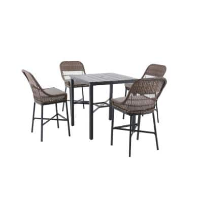 Beacon Park 5-Piece Brown Wicker Outdoor Patio High Dining Set with CushionGuard Stone Gray Cushions