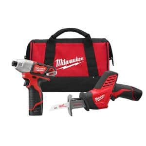 M12 12-Volt Lithium-Ion Cordless Impact Driver/HACKZALL Combo Kit (2-Tool) with Two 1.5 Ah Batteries, Charger, Tool Bag