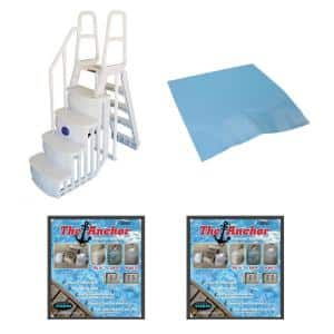 Ladder Steps for Above Ground Pool with Mat Pad Plus 2 Sand Weights