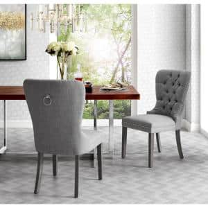 Nevaeh Light Grey Linen Ring Handle Nailhead Dining Chair (Set of 2)