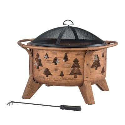 AmberCove 30 in. Outdoor Tree Motif Round Wood Burning Firepit