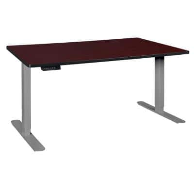 Natalie 72 in. H Mahogany/Grey Adjustable Power Desk