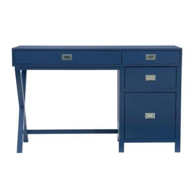 Sara 48 in. W Rectangle Navy Blue Wood 4-Drawer Computer Desk with Side Storage