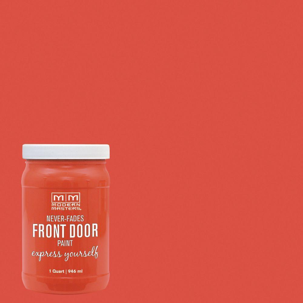 Express Yourself 1 qt. Satin Cheerful Orange Water-Based Front Door Paint