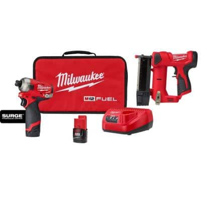 M12 FUEL 12-Volt Lithium-Ion Brushless Cordless SURGE 1/4 in. Hex Impact Driver and M12 23-Gauge Pin Nailer Combo Kit