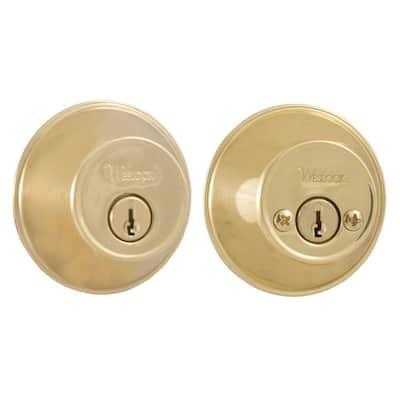 Essentials Lifetime Double Cylinder Polished Brass Deadbolt