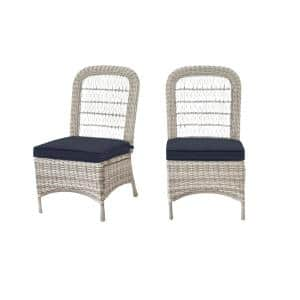 Beacon Park Gray Wicker Outdoor Patio Armless Dining Chair with CushionGuard Sky Blue Cushions (2-Pack)