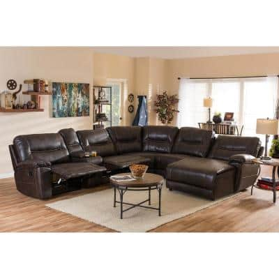 Mistral 6-Piece Brown Faux Leather 6-Seater L-Shaped Right-Facing Chaise Reclining Sectional Sofa