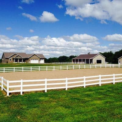 48 in. H x 640 ft. L 3-Rail White Vinyl Complete Ranch Rail Fence Project Pack