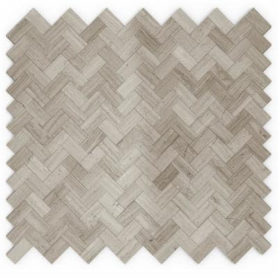 Maidenhair Mixed Grays 12.09 in. x 11.65 in. x 5mm Stone Self-Adhesive Wall Mosaic Tile