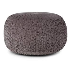 Grafton Transitional Round Pouf in Grey Velvet