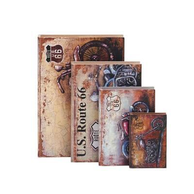Vintage Rectangular Wooden Polyurethane Book Boxes (Set of 4)