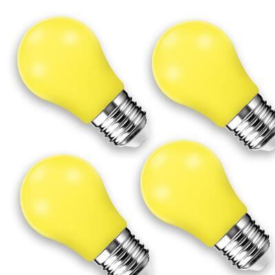 3-Watt, 20-Watt Equivalent A15 Non-Dimmable LED Light Bulb E26 Base in Yellow (4-Pack)