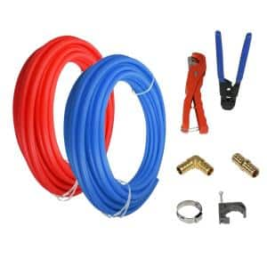 3/4 in. x 300 ft. Pex Tubing Plumbing Kit - Crimper and Cutter Tools Tubing Elbow Cinch Half Clamp - 1 Red 1 Blue