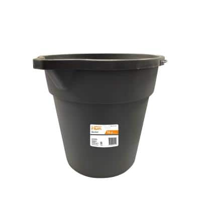 14 qt. Gray Round Plastic Cleaning Bucket with Steel Handle