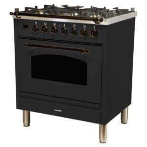 30 in. 3.0 cu. ft. Single Oven Italian Gas Range with True Convection, 5 Burners, LP Gas, Bronze Trim in Matte Graphite