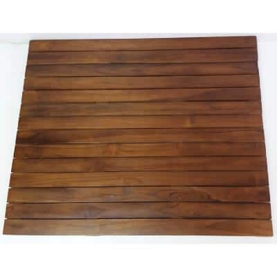 Natural Teak Floor Mat 1.5 in Thick x 20 in. W x 30 in. L Solid Teakwood Flooring (4.17 sq. ft./Piece)