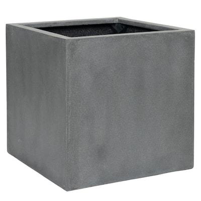Block Medium 16 in. Tall Grey Fiberstone Indoor Outdoor Modern Square Planter