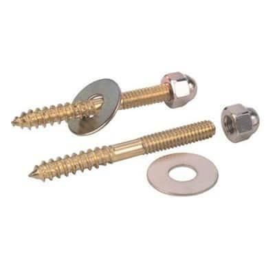 Closet Screws 1/4 in. x 3-1/2 in. Brass Plated (2 Pack)