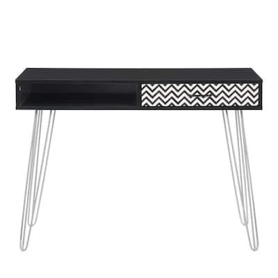 42 in. Rectangular Ravenwood Black 1 Drawer Writing Desk with Built-In Storage