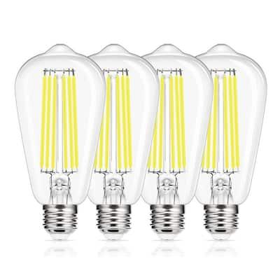150-Watt Equivalent ST64 E26 Edison LED Light Bulb in Daylight (4-Pack)