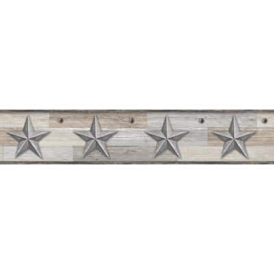 Pallet Star Silver Spray and Stick Wallpaper Border