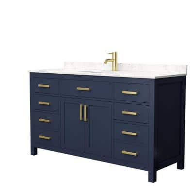 Beckett 60 in. W x 22 in. D Single Vanity in Dark Blue with Cultured Marble Vanity Top in Carrara with White Basin