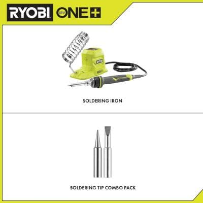 ONE+ 18V 40-Watt Soldering Iron (Tool-Only) with extra Fine Point and Chisel Point Soldering Tips