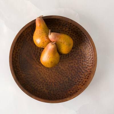 Artisan Wood - Hammered Natural Decorative Bowl