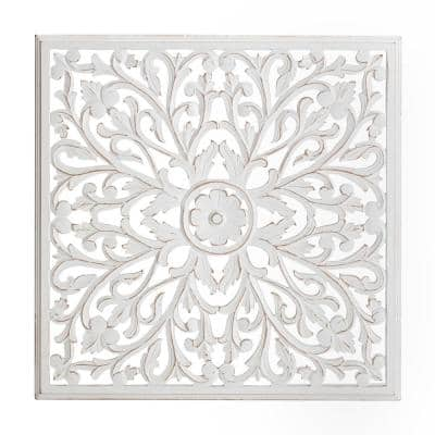 30 in. x 30 in. Beakman White 30 in. Square Medallion MDF Wall Art