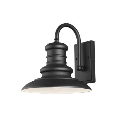 Redding Station Medium 1-Light Textured Black Outdoor Wall Lantern Sconce with Turtle Friendly Amber 7W PAR20 LED Bulb