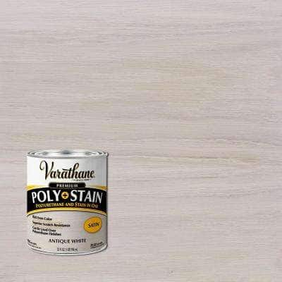 1 Qt. Antique White Semi-Transparent Satin Water-Based Interior Polyurethane and Stain (2 Pack)