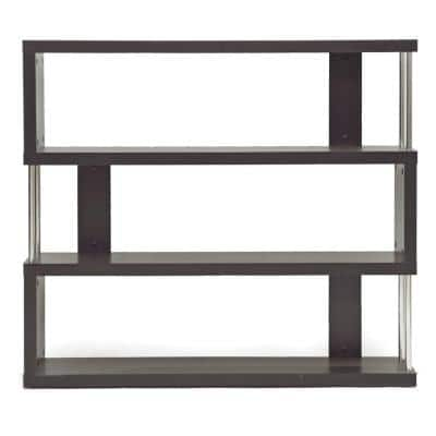 38.5 in. Dark Brown Wood 3-shelf Accent Bookcase with Open Back